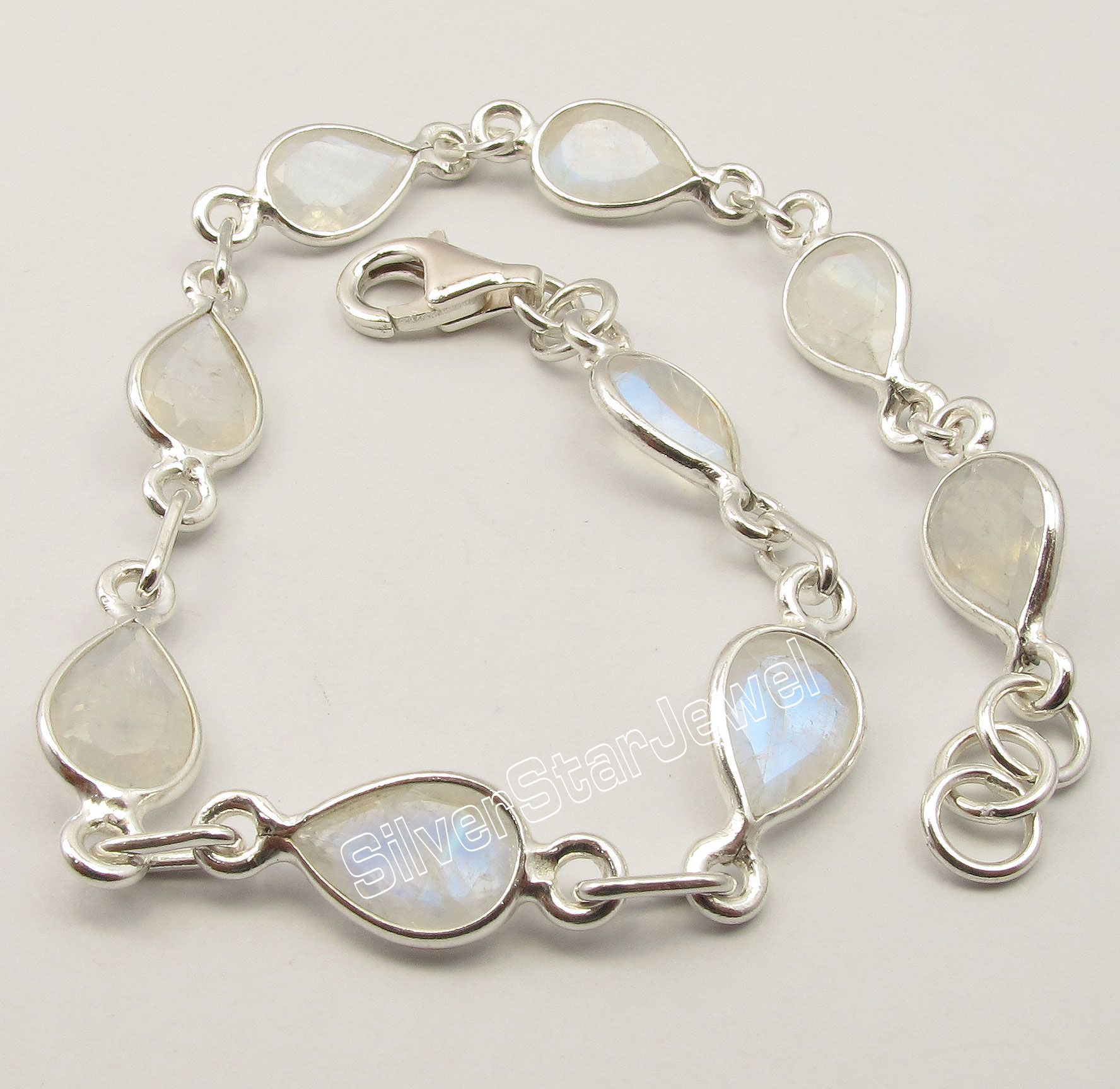 Chanti International . Silver BLUE FIRE DROP RAINBOW MOONSTONE ART Bracelet 8 3/8 Inches