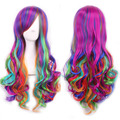 wavy european wig ombre pastel rainbow wig long multi color wigs cosplay women natural hair heat resistant synthetic wigs curly