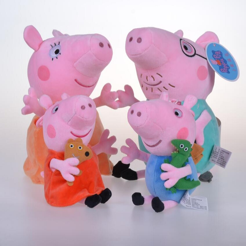 Original 4PCS 19-30CM pink Peppa Pig Plush pig Toys high quality hot sale Soft Stuffed cartoon Animal Doll For Children's Gift 1