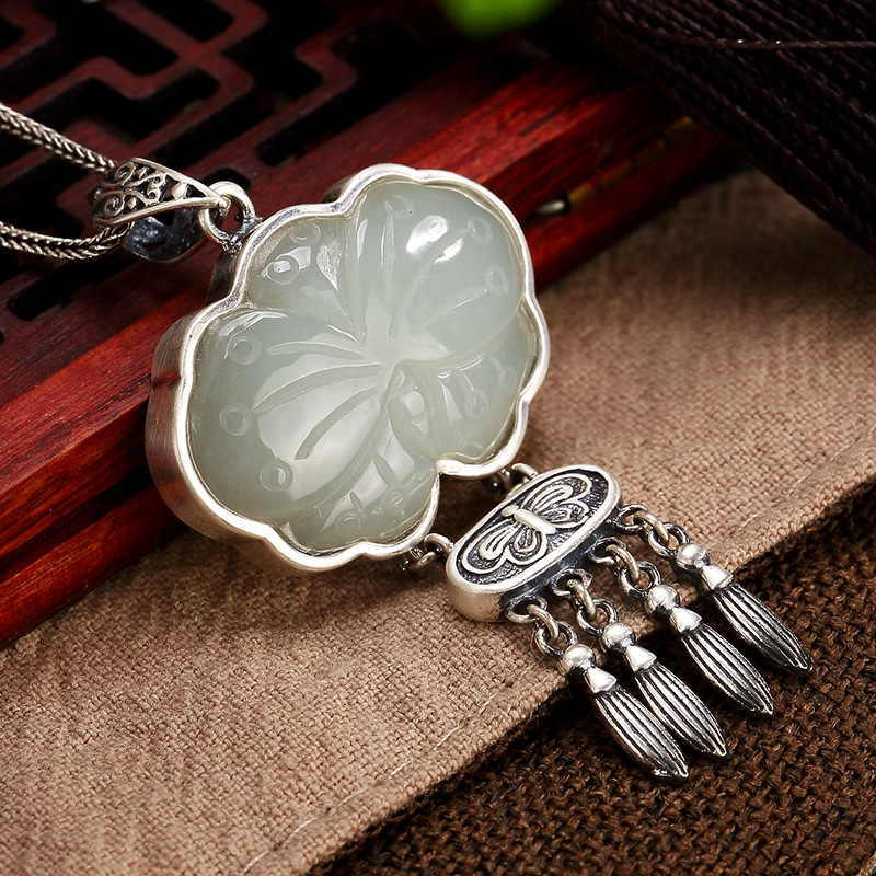 2018 New S925 pure silver inlay hetian jade white jade butterfly tassel high-grade ladies sweater wholesale chain pendant цена 2017