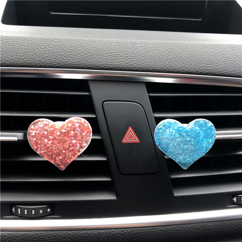 Lovely Heart Badge Car Air Freshener Clip Diffuser Supplement Peach Perfume Adjusting Car Fresh Air Scent Auto Ornament Styling