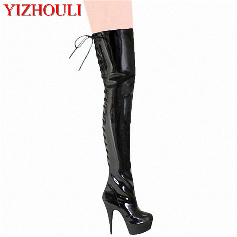 Ultra high heels over the knee plus size high leg 15cm ...
