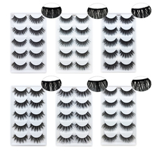 2019 NEW 5 Pairs 1 Box Mink Eyelashes Natural Long 3D Lashes Hand-woven Mesh Surround Soft False Eyelash