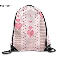 3D Print Original Love Patterns Shoulders Bag Women Fabric Backpack Girls Beam Port Drawstring Travel Shoes
