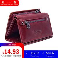 Contact's genuine leather Women wallets and Purses female coin purse small money card holder clutch female Design red wallet new