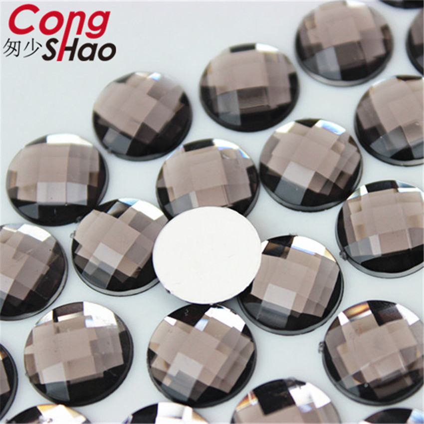 Cong Shao 12mm 300PCS Colorful Round stones and crystals flatback Acrylic Rhinestone trim Scrapbook DIY costume Button CS135 in Rhinestones from Home Garden
