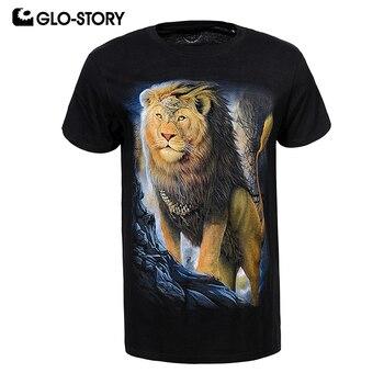 GLO-STORY Men's 2019 Summer Punk Fashion Short Sleeve Black Tshirt Man Animal 3D Print Scoop Neck Knitted T-shirts Tops 8095