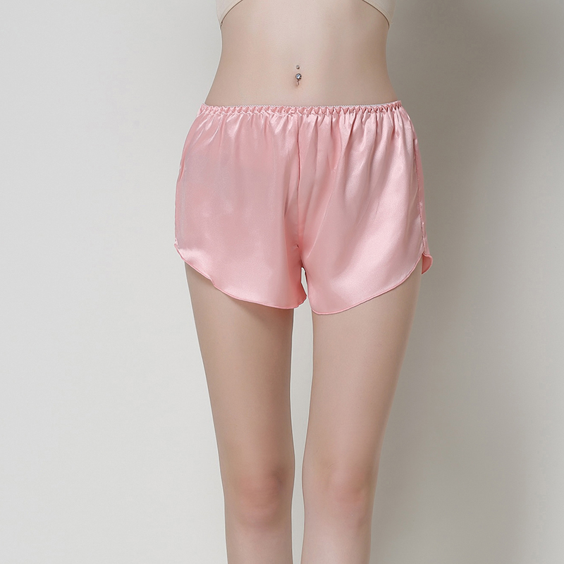 Summer New Women Shorts Solid Satin Sleepwear Sexy Lady Soft Short Pants Elastic Waist pajamas Casual Nightwear One Size ...