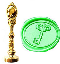 Custom Picture Logo Vintage Key Luxury Wax Seal Sealing Stamp Brass Peacock Metal Handle Gift Set