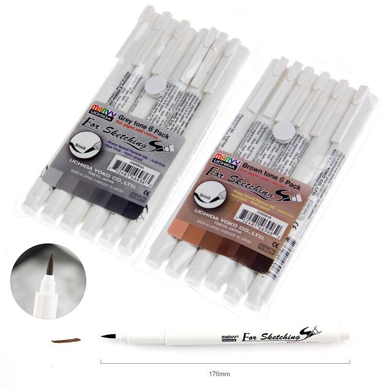 6 PCS Japan Imported Ilustrating Cartoon Design Sketch Brush Marker Pen Grey Brown Water Na permanentní inkoust Arte Marcadores