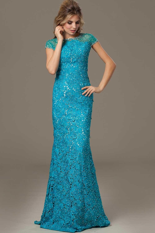 Teal Lace Long Prom Dresses | Dress images