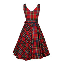 ФОТО plus size s/m/l/xl/2xl/3xl a-line women vintage floral bodycon plaid sleeveless casual evening party red dress a30
