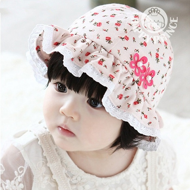 pretty baby girl hats print floral pattern cotton lace fedoras sun