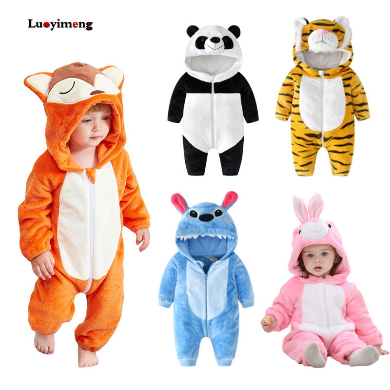 New Baby   Rompers   Boys Girls Pajamas Kigurumi Costumes Kids Clothes Animal Hooded Infant Toddler Jumpsuit Outfits Winter Overalls