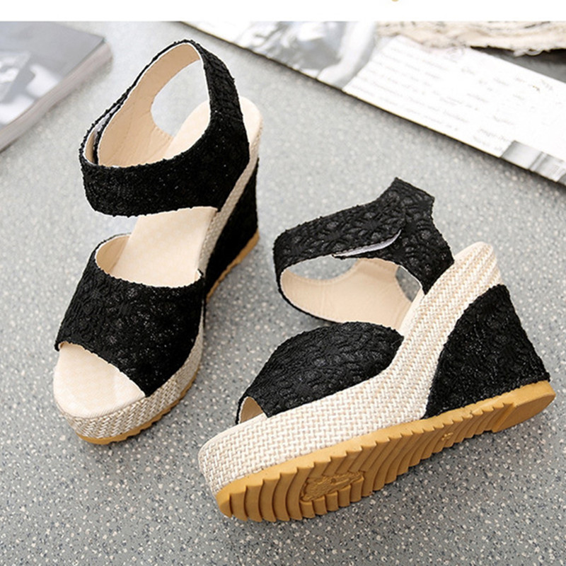 b279eb624 Women Sandals 2018 New Summer Fashion Lace Hollow Gladiator Wedges Shoes  Woman Slides Peep Toe Hook   Loop Solid Lady Casual-in High Heels from Shoes  on ...