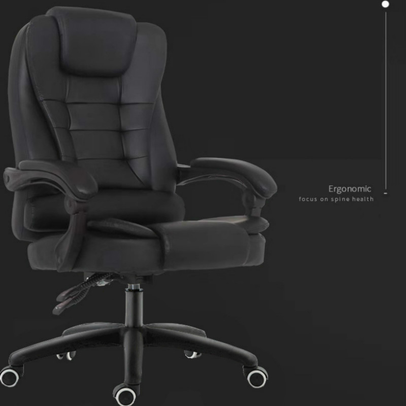 Cowhide Office Chair Household Leather Computer Chair Swivel Lift Gaming Chair Reclining Silla Oficina With Massage Function