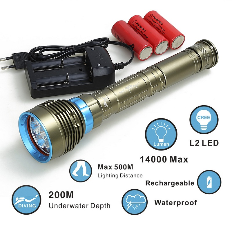Diving flashlight 7x XML T6 L2LED Flashlight linternas Scuba Underwater 100M Flash Light Waterproof Lamp Torch 26650/18650 фонарик tomtop xml t6 2200lm 5 linternas & hx318a 2200lm flashlight hw 30