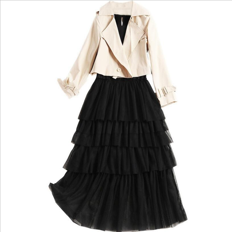 Veste Courte Ol Pièces Lady Élégant Femmes Solide Automne Sergé Robe Noir Sans Costumes Manteaux Maille Manches Deux Mince Ensemble Bureau w8FwaR0q