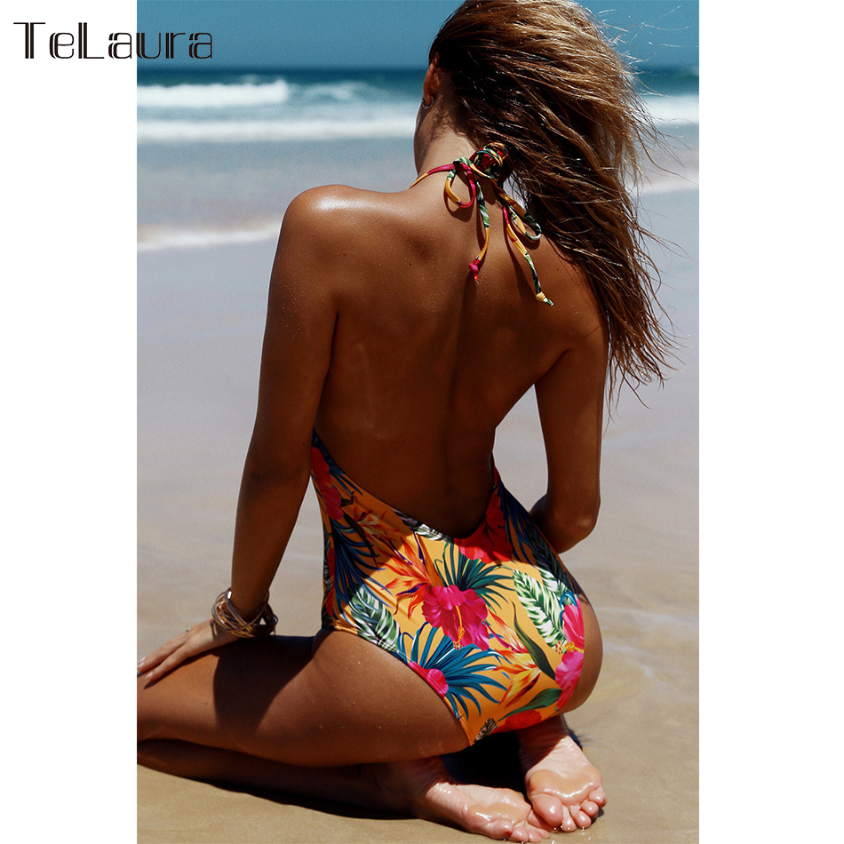 2019 New Sexy One Piece Swimsuit, Women's Swimwear, Push Up Monokini Print Swim Suit, Backless Bathing Suit 13