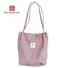 Casual one shoulder large capacity shopping bag corduroy solid color ladies handbag simple bag green bag цены