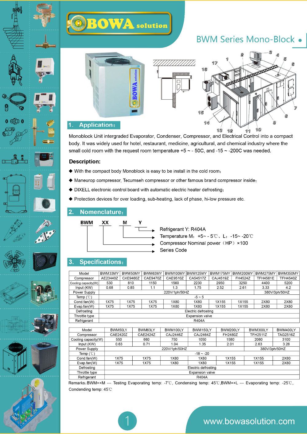 2m3 Freezer Room Refrigeration Unit Including Evaporator Condenser Maneurop Compressor Electrical Drawing Bwm Series Monoblock 1