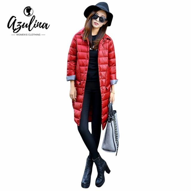 Azulina Для женщин Зимнее теплое длинное пальто с длинным рукавом белая утка Пух однотонные красные женские верхняя одежда; парка 2016 тонкий Пальто и пуховики длинные пальто