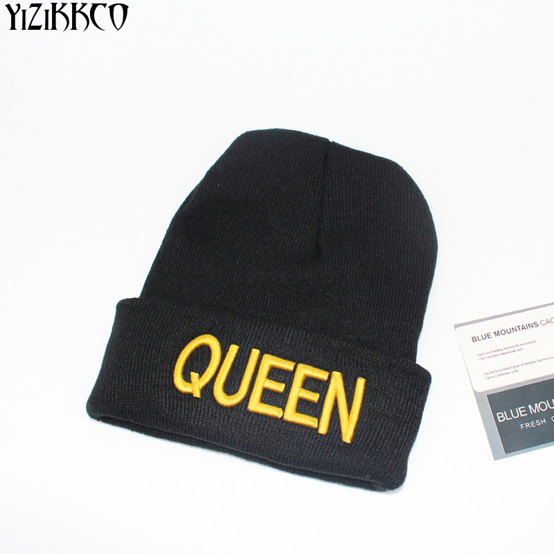 YiZiKKCO Brand New Casual Kintted Skullies Beanies King And Queen Letter Hats High Quality Warm Casquette Homme Gorros SZQ149 skullies