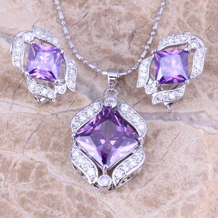 Brilliant Purple Cubic Zirconia White CZ Silver Earrings Pendant Necklace Jewelry Sets S0756
