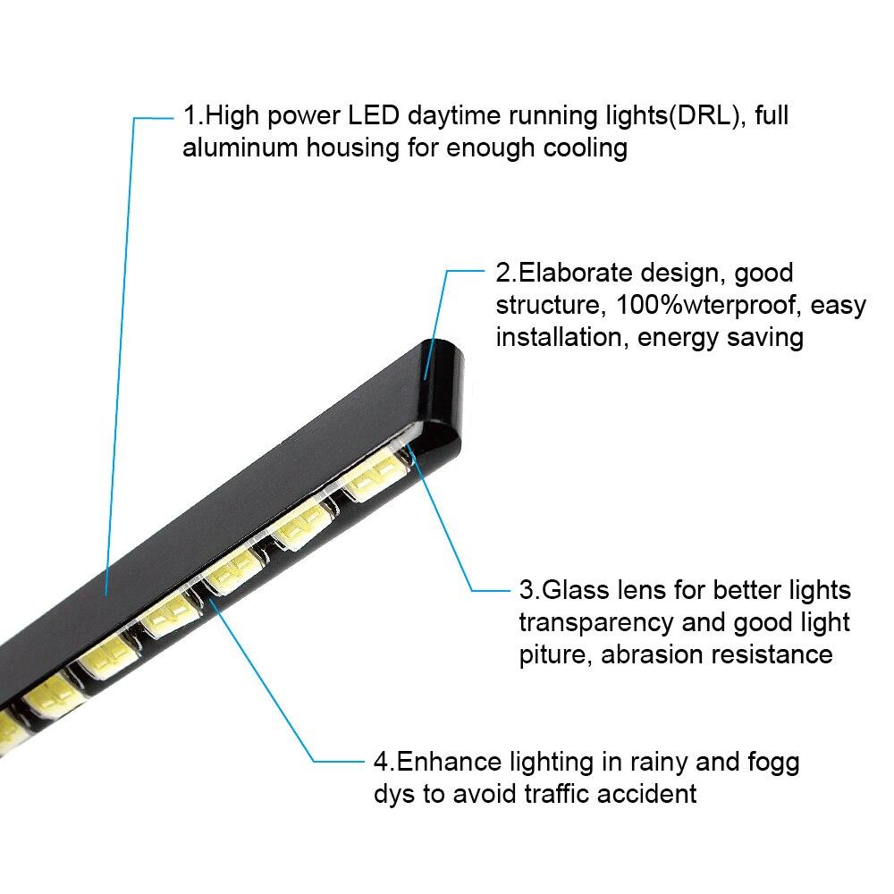 HTB104RgdkKWBuNjy1zjq6AOypXa1 Car Styling Daytime Running Lights Light Source SMD Car DRL 7030 Daylight Led Strip 2pcs 12 LEDs