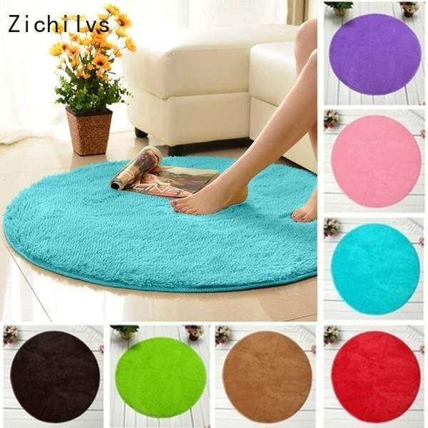 Zichilvs Fluffy Round Rug Carpets for Living Room Decor Faux Fur Carpet Kids Long Plush Rugs Bedroom Shaggy Area Modern Mat