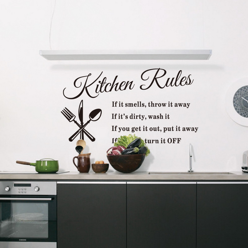 Kitchen Rules Living Room Kitchen Vinyl Wall Stickers For Kids Room