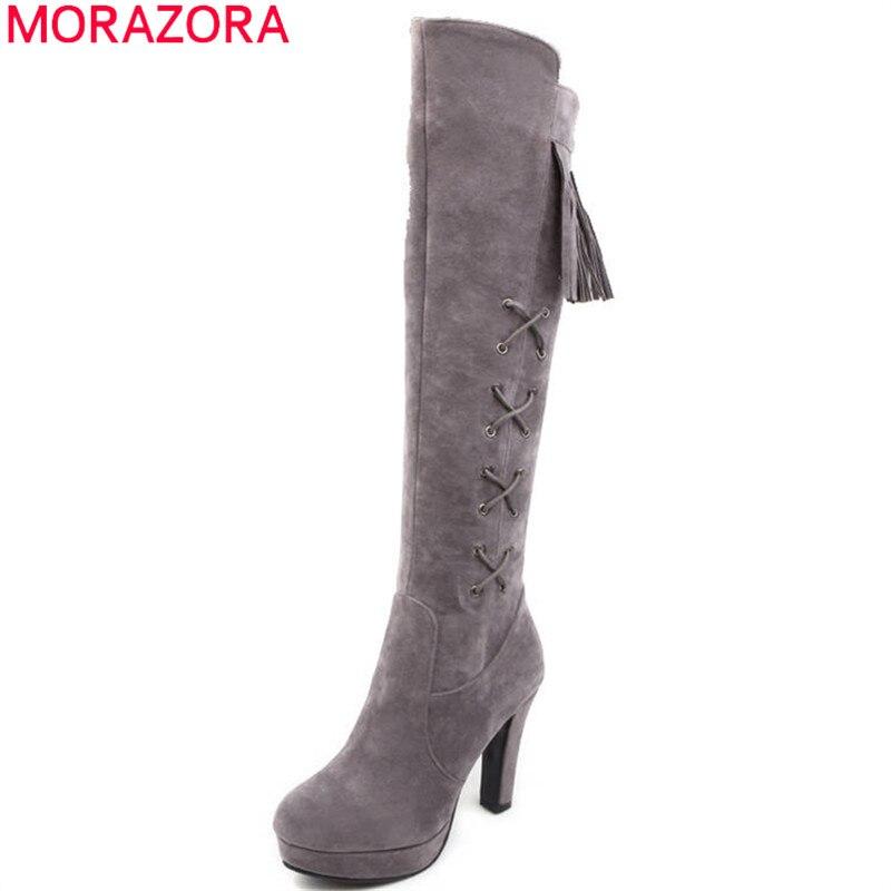 Talons Morazora Femmes Rouge Plate Troupeau Haute forme Chaussures Bout Femme Bottes gris Hiver Fringe Rond Automne rouge Noir Genou 2018 Date Hauts 6rYCqw6
