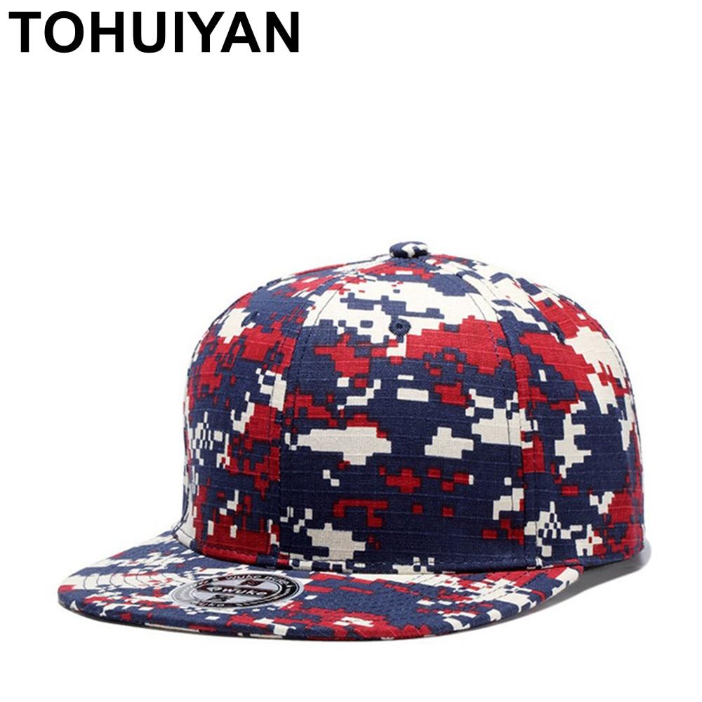 a0f96208d69 TOHUIYAN Camo Digital Snapback Cap Men Women Hip Hop Hat Flat Visor Gorras Baseball  Caps Summer