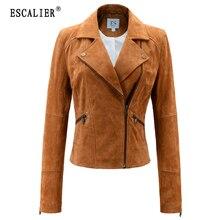 Escalier 2017 New Fashion Genuine Leather Jacket Women Zipper Khaki Slim Motorcycle Outerwear Coats Autumn Winter Basic Jackets