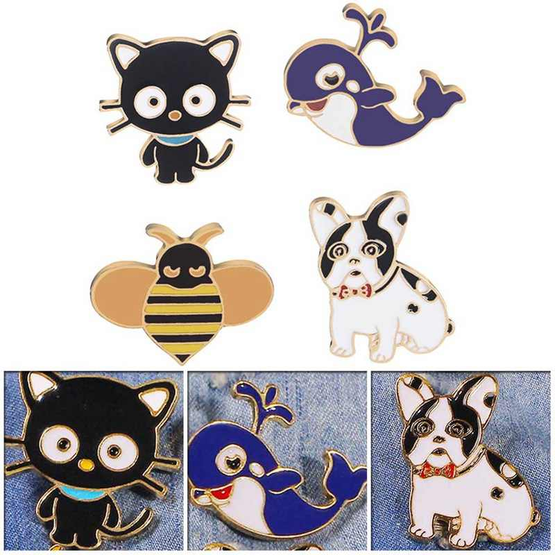 Blue Whale Cat Dog Bee Kitten Brooch Metal Drip Oil Pins Fashion Cute Animal Badge Dress Collar Lapel Pin Jewelry