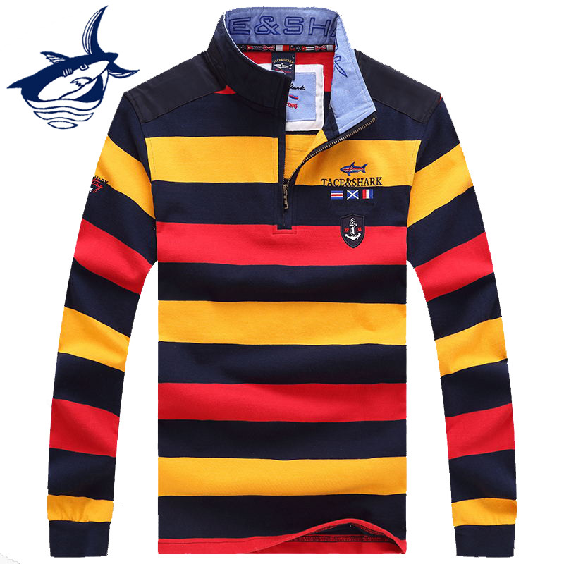 2019 Brand Clothing Sweater Men Top Quality Tace & Shark Sweater Business Style Pullover Men Striped Sweaters Shark Sweater T651