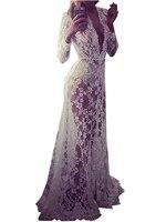 Crochet Long Maxi See Through Floral Pattern Embroiderid V Neck High Waist Women Dress Sexy Beach