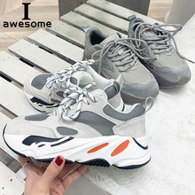 Купить с кэшбэком Genuine Leather Retro Dirty Casual Shoes Women Platform Shoes Chunky Sneaker Ladies Thick Sole Flats Shoes Creeper Comfortable
