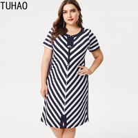 TUHAO large size 6XL 5XL 4XL 3XL elegant mother striped dresses 2019 short sleeved women dress runway fashion female dresses ZPZ