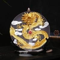 Ceramic Dragon Burner Incense Stick Burner With Cones For Smoke Backflow Like Water Streaming Down Lotus Art Craft Home Decor