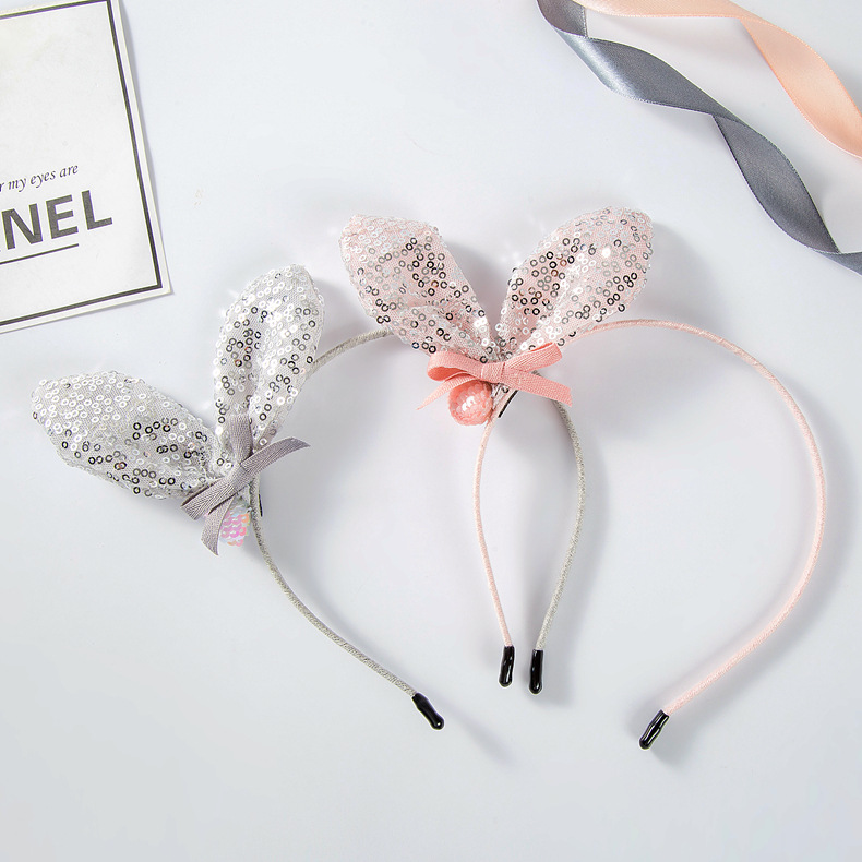 Korea lovely Crystal Bunny Hair Accessories For Girls High Quality Hair Band Cotton Headband Hair Bow Princess 4