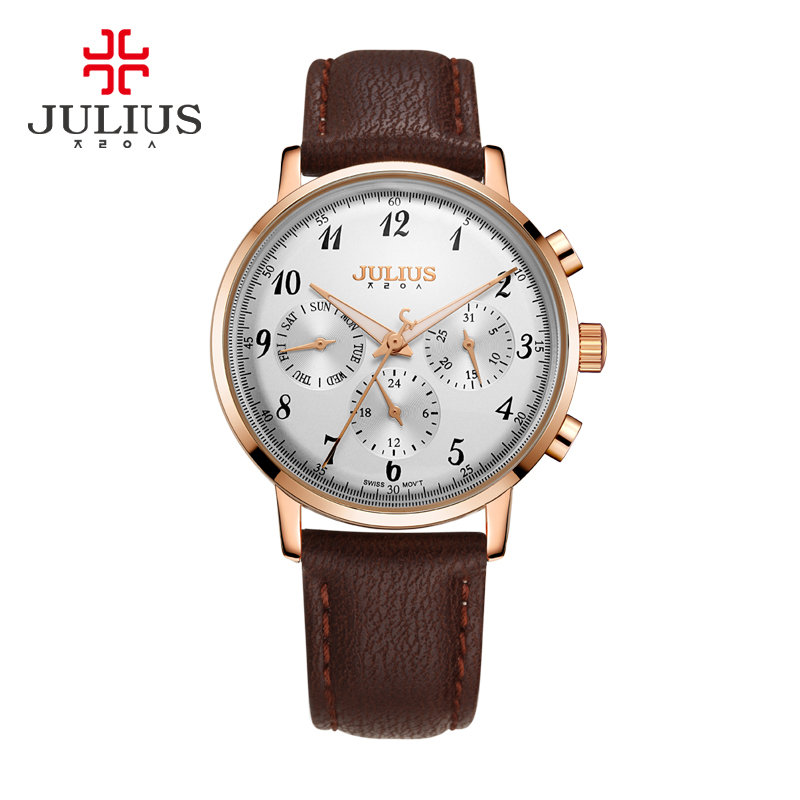 Real 6 Pointers Thin Men's Women's Watch ISA Quartz Fashion Hours Dress Sport Leather Boy Girl Birthday Gift Julius Box real functions julius shell women s watch isa mov t hours clock fine fashion bracelet sport leather birthday girl gift box