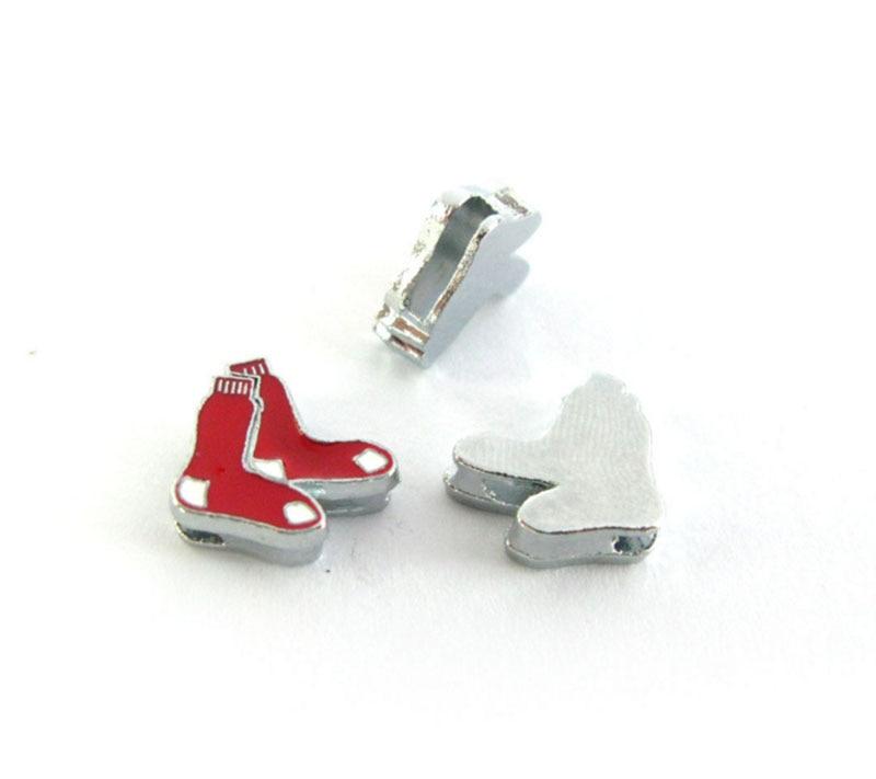 Baseball Slide Charms 8mm Alloy With Enamel Boston Red Sox Slide Charms Fit Pet Collar DIY Necklace & Bracelet 20Pcs