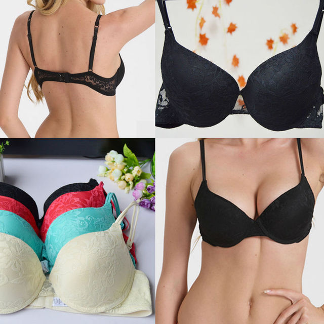 a2804a40c4 Vogue Secret Women Brand Bra Sexy Underwire Padded Push Up Embroidery Lace Bra  Brassiere Plunge BH Lingerie Big Size Bralette
