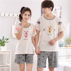 Image 3 - Plus Size 4XL Knited Cotton Pajama Sets Summer Print Pijama Couple Short Sleeve Mens Sleepwear O neck Female Pyjamas