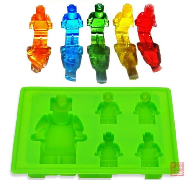 2016 New 4+1 Lego Minifigure Ice Cube Tray Silicone Candy Mold Sweet ...