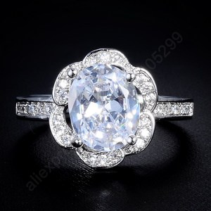 Luxury Shining Egg Flower Cubic Zirconia 925 Sterling Silver Jewelry Finger Rings Women Party Gift US Size 7.8.9