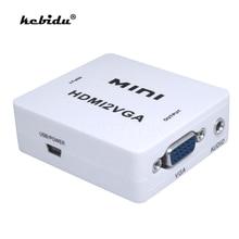 Kebidu HDMI VGA dönüştürücü ile ses HDMI2VGA 1080P PC Laptop için adaptör konnektörü HDTV projektör HDMI 2 VGA dönüştürücü