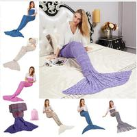 195x95CM Mermaid Tail Blanket Bedding Handmade Wool Yarn Knitted Warm Blankets For Beds Adult Kids Throw
