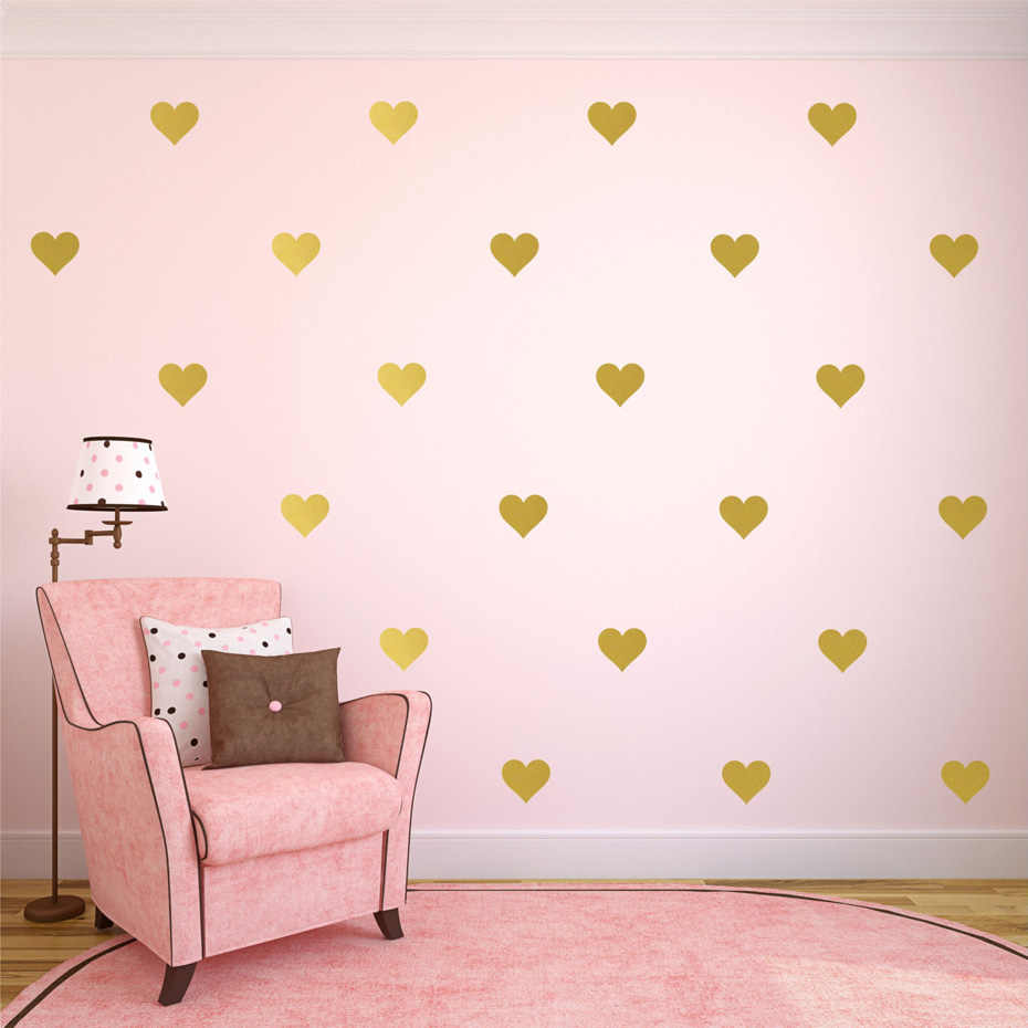 1Piece Gold Heart Butterfly Stars Wall Decals Gold Polka Dot Wall Sticker Girls Kids Nursery Decor Gold Wallpaper Home Decor